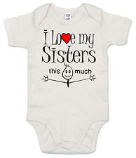"GRACIOSO Body de bebé ""I LOVE MY HERMANAS This Much"" CAMISETA NIÑO NIÑA ROPA"
