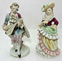 Victorian Musical Couple Figurine Porcelain Ruffle Lace Mandolin Dancing Vintage