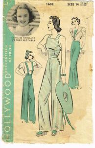 1930s Vintage Hollywood Starlet Sewing Pattern 1602 Sexy Slacks De Havilland
