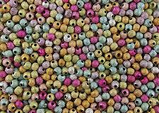 100 Stardust-Perlen 4 mm Farbmix (Dekoperlen/ Glitzerperlen) Krepp-Perlen