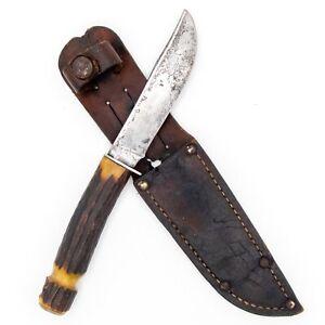 1933-40 REMINGTON DUPONT RH73 General Purpose Hunting Knife STAG Original Sheath