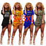 New Women Letter Print Crew Neck Short Sleeve Loose Casual Club T-Shirt Dress