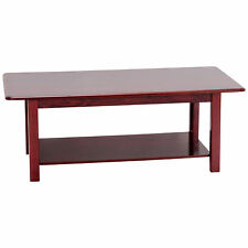 Satin Mahogany Finish Wood Rectangle Coffee Table with Shelf