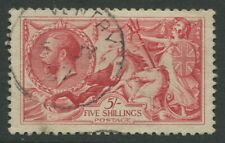 More details for kgv 1918 sea horse sg416  bradbury/wilkinson 5/- rose red used fine cat £135