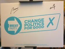 More details for nigel farage richard tice the brexit party signed autograph correx board aftal