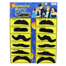 12pcs Black Stick on Fake Moustache Self Adhesive Party Joke Mustache Set