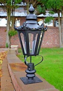 USED Ex-Display 86cm Victorian Hexagonal Driveway Pillar Light and Lantern Set