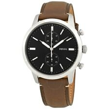 New! Gents Fossil Townsman Brown Leather Strap Black Dial FS5280 Mens Watch