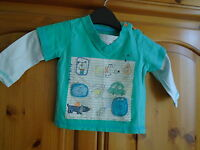 Baby boys green and white long sleeve top, GEORGE, 3-6 months