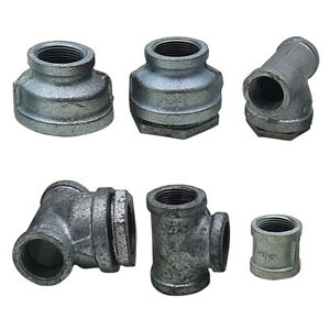 GALVANISED MALLEABLE IRON PIPE FITTINGS BSP WATER STEAM AIR GAS GALV TUBE
