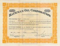 Bateman Oil Corporation > 1930 Tennessee old stock certificate share