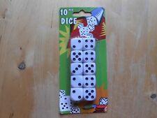 10 Würfel Knobelwürfel Spielwürfel Weiß Dice Cube Kunststoff Neu ca.16mm