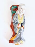 Vintage Ceramic Traditional Man Figure Vase Hanging Wall Pocket Japan Decor