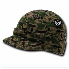 Men Visor Beanie Camo Ball Cap Hat Knit Ski Hunting Army Military Winter Hats