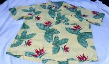 Scandia Woods Floral Leaf Leaves Hibiscus Yellow Mens Hawaiian shirt Large