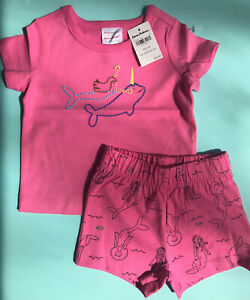 NEW Hanna Andersson Baby Girl Two Piece Pink Embroidered Mermaid Narwhal Outfit