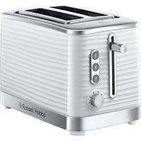 Russell Hobbs 24370 Inspire High Gloss Plastic 2-Slice Toaster, White and Chrome