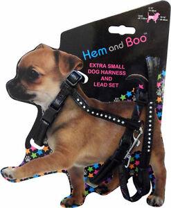HEMM & BOO DIAMANTE  PUPPY DOG HARNESS AND LEAD SET BLACK PINK