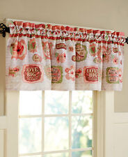 Vintage Retro Spring Birds Window Valance Hearts Love Big Sentiments Valance