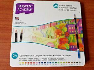 Derwent Academy Colour Pencils x 24. New. Hatching, Blending, Impressed Line