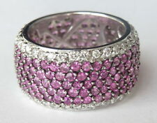 BJC SAMUEL BEHNAM 14K White Gold Eternity 7 Row Sapphire Diamond Wide RING Sz 7