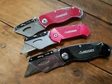 Lot of 3 Husky Utility Knives Box Cutters Black&Red Metal Folding knife