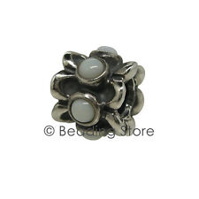 NEW Pandora 'Forget Me Not' Silver ALE White Agate Flower Charm Bead 790470AGW