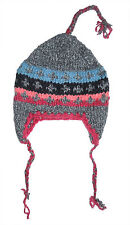 Winter HAT - Grey Handmade Pakistani Wool - Adult Knitted Hippie Ski Cap H11