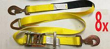 8x Race Car Trailer Tie Down Auto Car Hauler Ratchet Straps w/ Axle Strap Yellow