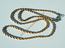 Chaine 56 cm Duo Argenté Or Acier Inoxydable Triple Maille Torsadé Cordage 3 mm