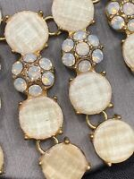 Vintage Bib Statement Necklace Rhinestone  White Iridescent cabochon Gold 16""