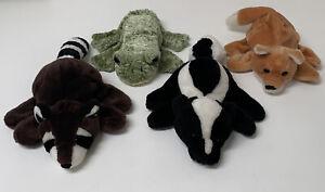Lot of 4 Caltoy Hand Puppet Plush Frog, Skunk, Raccoon & Fox