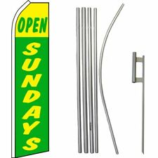 Open Sundays Yellow / Green Swooper Flag & 16ft Flagpole Kit/Ground Spike