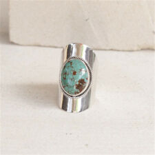 Women's Vintage 925 Silver Turquoise Gemstone Gypsy Ring Wedding Bridal Jewelry