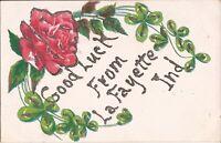 Lafayette, INDIANA - Good Luck - HANDMADE GLITTER - rose & four leaf clover