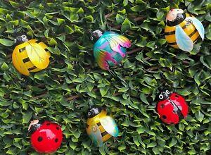 Metal Garden ladybird Bee wall art decorations novelty Fence Wall Tree Mounted G
