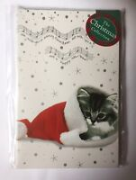 'Cats in Hats' Cute Tabby Kitten Cat in Santa Hat 15 small Christmas cards SALE
