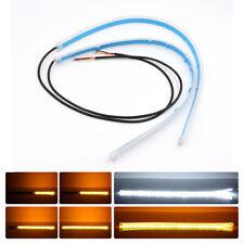 60CM Flexible LED Headlight Strip Light DRL Drive White Turn Signal Flow Amber