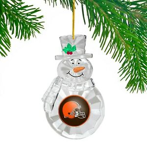 Cleveland Browns Football Team NFL Traditional Snowman Christmas Tree Ornament
