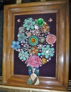 """Jewlery Art Bouquet """" Fresh Air"""", signed by Artist, full of Flowers, Sparkle!"""