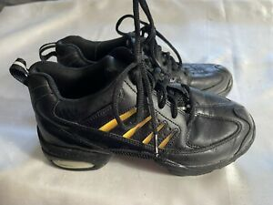FRONTLINE HIP HOP BLACK LEATHER SHOES WITH 8 COLORED INSERTS SIZE 7