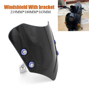 Motorcycle Wind Screen Windshield Universal Fit For Handlebar Scooter Bike Kit