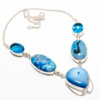 Unique Aqua Druzy, Blue Topaz Handmade Ethnic Style Jewelry Necklace 18""