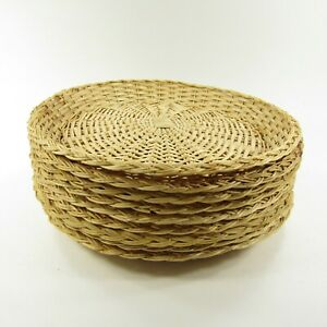 """9"""" Wicker Rattan Paper Plate Holders Set Lot Of 9 Picnic Camping Crafts"""