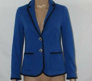 Talbots Blue Knit Aberdeen Blazer Jacket NWT 0P Black Trim LS Signature Buttons