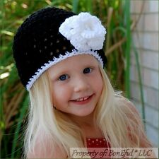 BonEful RTS NEW Boutique Crochet Black White Flower Xmas Pageant Baby 2 Girl HAT