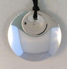 """Tiffany & Co. 925 Silver Peretti Round Huge Disc Necklace 16"""" Silk Cord"""