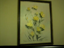 ORIGINAL SIGNED OIL PAINTING  BY R BOWMAN IN FRAME YELLOW ROSES FLORAL RESELLER