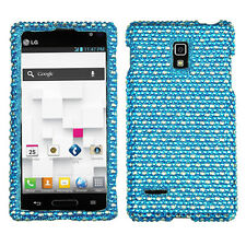 For LG Optimus L9 Crystal Diamond BLING Hard Case Snap On Phone Cover Blue Dots