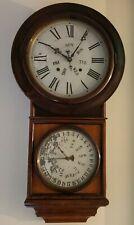 Working 1870 Welch Spring Co Round Top Regulator Double Dial Calendar Wall Clock